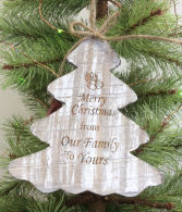 Engraved wooden tree ornament Ornament