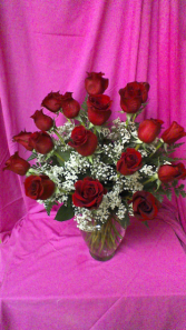 Especially For You 18 red roses designed with baby breath in nice clear glass garden vase