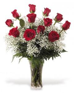 ROMANCE DOZEN ROSES IN ETCHED VASE in Jacksonville, FL | TURNER ACE FLORIST
