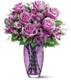 Etched with Love Vase Arrangement Purple or Clear Vase