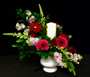Eternal Flame Yellow Floral Design with Luxury Lite Candle in Plainview, TX | Kan Del's Floral, Candles & Gifts