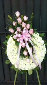 ETERNAL FRIENDSHIP WREATH - PINK ROSES FUNERAL FLOWERS