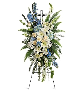 Eternal Grace With A Crystal Cross Teleflora in Springfield, IL | FLOWERS BY MARY LOU