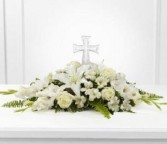Eternal Light Bouquet  Fresh monochromatic arrangment with cross