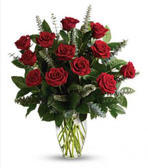12 Standard Roses in Vase Roses in Granada Hills, CA   GRANADA HILLS FLOWERS