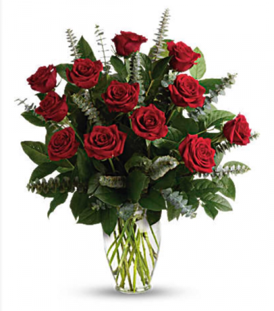 12 Standard Roses in Vase Holiday Flowers