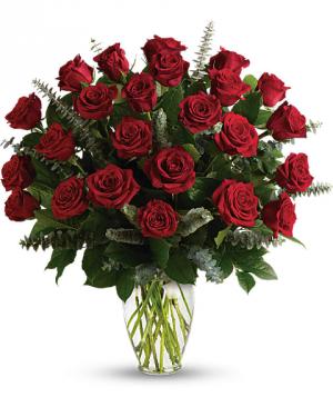 Eternal Love Roses Vased Two Dozen  in White Oak, PA | Breitinger's Flowers & Gifts