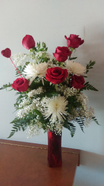 ETERNAL LOVE RED ROSES/WHITE MUMS