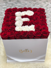 Large Hat Box With Initial 50 Fresh Roses