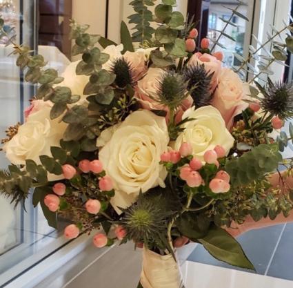 Eucalyptus, Garden Roses, Berries Bridal Bouquet  Wedding
