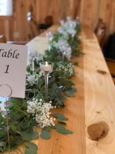 Eucalyptus runner with Baby's Breath  Wedding Table Decor