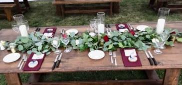 Eucalyptus table runner Reception flowers