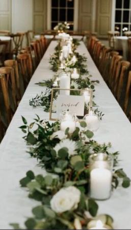 Eucalyptus & White Table Decor Reception Flowers