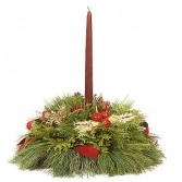 Evergreen Table Single Candle Centerpiece