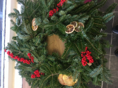 evergreen wreath decorated christmas