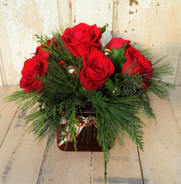 Evergreens and Roses Vase Arrangement