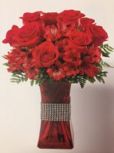 Everlasting Love Bouquet Red Vase Arrangement