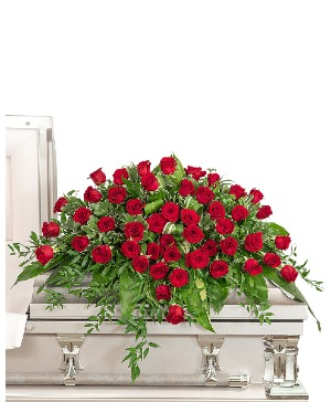 Everlasting Love Casket Spray Sympathy in Nevada, IA | Flower Bed