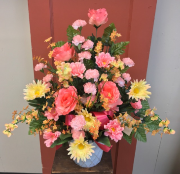 Everlasting Peach Tribute Silk Sympathy Arrangement