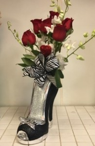Every Womans Loves Shoes!! Send Her Sparkly High Heel Shoe Filled With Romantic Roses and Orchids