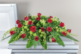 Exalted Emeralds and Rubies Casket Spray