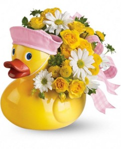 """Exclusively at Flowers Today Ducky Delight Ceramic Keepsake """"Girl"""""""
