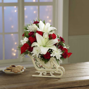 Exclusively at Flowers Today Florist Sleigh Ride Holiday Arrangement Porcelian Keepsake in New Port Richey, FL | FLOWERS TODAY FLORIST