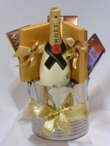 Executive Gifts, Christmas Chocolates & Wine     Moet & Chandon Champagne & Godiva Chocolates Gift Baskets - AMAPOLA BLOSSOMS Prince George, BC. Gift Baskets Delivery