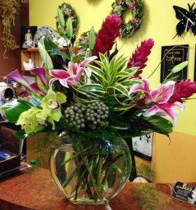 Exotic Flower Jazz Mix in pillow vase VALENTINE'S everyday