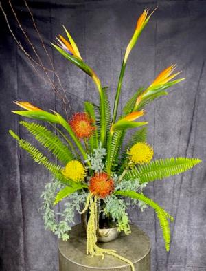 Exotic Sunset Tropical Flower Arrangement in Summerville, SC   The Tilted Tulip