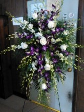 Exotic Tribute purple dendrobium orchids and white roses