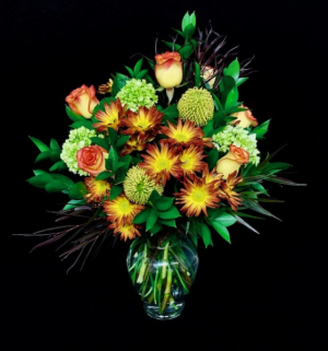 Expression of Autumn Fall Design with High & Magic Roses in Plainview, TX | Kan Del's Floral, Candles & Gifts