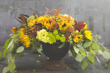 Exquisite Sunflower Compote vase arrangement