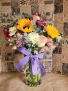 Extra Large Clear Vase w/Bright Flowers
