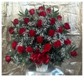 Two Dozen Roses Arrangement in container