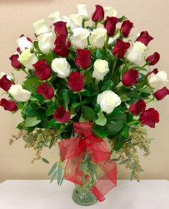 Extravagant Love & Romance  48 Red and White Roses  in Riverside, CA | Willow Branch Florist of Riverside