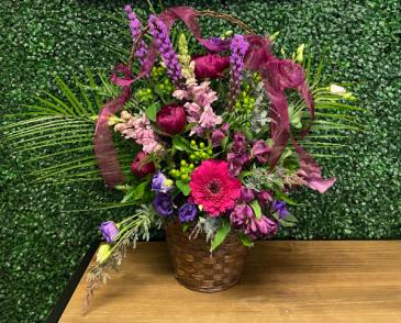 Extravagant Purple Hues Basket Funeral Basket