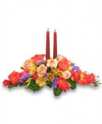 FESTIVE CENTERPIECE of Fall Flowers