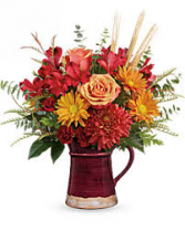 Fabulous Fall Fall Arrangement in a ceramic pitcher