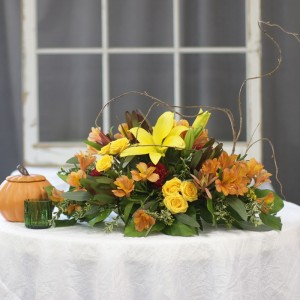 Fabulous Fall Yellow Lily Centerpiece Centerpiece