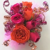 Fabulous Fuschia & Orange Wrist Corsage
