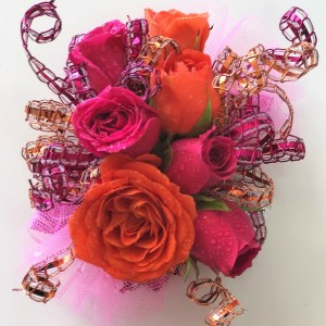 Fabulous Fuschia & Orange Wrist Corsage in Jamestown, NC | Blossoms Florist & Bakery
