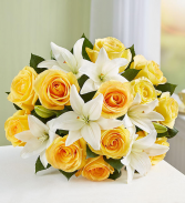 Fair Trade Yellow Rose & White Lily  Hand tied bouquet