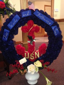 Fair Winds Memorial Silk Memorial wreath in an Urn in Milton, FL | PURPLE TULIP FLORIST INC.