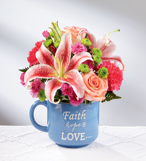Faith Hope & Love Mug Arrangement