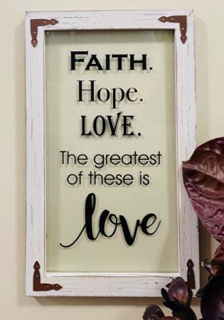 Faith, Hope, Love Window Wall Decor