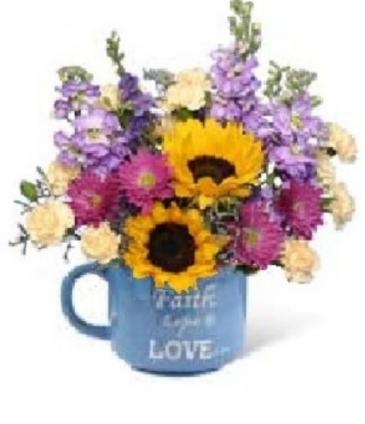 FAITH & LOVE FLORAL MUG COFFEE CUP FLORAL ARRANGMENT