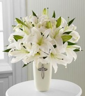 Faithful Blessings Bouquet of White Lilies in ceramic cross vase