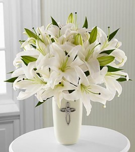 Faithful Blessings Bouquet of White Lilies in ceramic cross vase in New Port Richey, FL | FLOWERS TODAY FLORIST