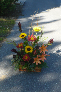 Fall Afternoon Wicker Basket  Rovers, Lilies, Sunflowers & pods